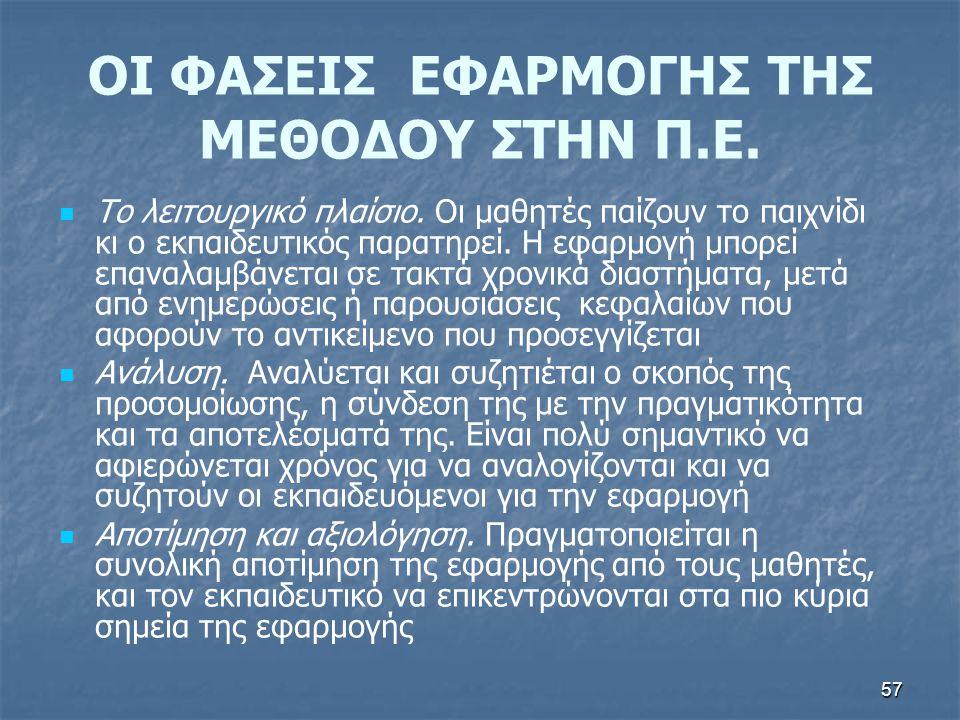 57 ΟΙ ΦΑΣΕΙΣ ΕΦΑΡΜΟΓΗΣ ΤΗΣ ΜΕΘΟΔΟΥ ΣΤΗΝ Π.Ε.Το λειτουργικό πλαίσιο.