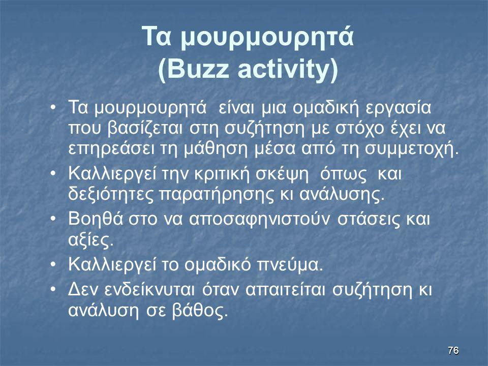 76 Τα μουρμουρητά (Buzz activity) Τα μουρμουρητά είναι μια ομαδική εργασία που βασίζεται στη συζήτηση με στόχο έχει να επηρεάσει τη μάθηση μέσα από τη συμμετοχή.