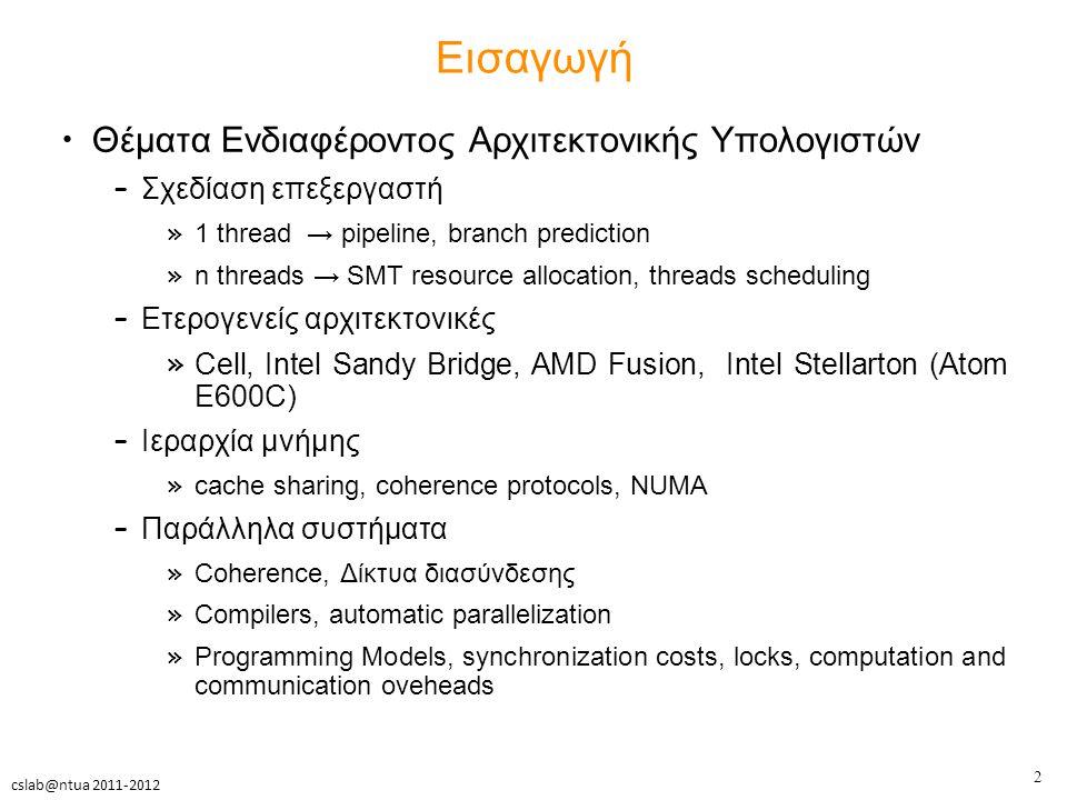 13 cslab@ntua 2011-2012 Παράδειγμα χρόνων προσομοίωσης spec2k with gcc and small inputs
