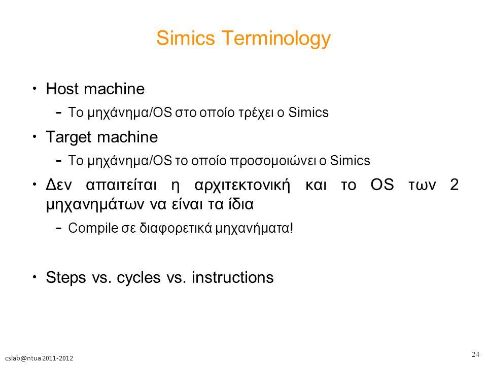 24 cslab@ntua 2011-2012 Simics Terminology Host machine – Το μηχάνημα/OS στο οποίο τρέχει ο Simics Target machine – Το μηχάνημα/OS το οποίο προσομοιώνει ο Simics Δεν απαιτείται η αρχιτεκτονική και το OS των 2 μηχανημάτων να είναι τα ίδια – Compile σε διαφορετικά μηχανήματα.