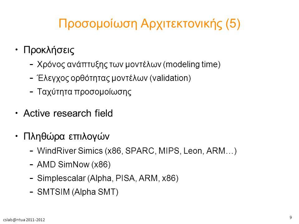 9 cslab@ntua 2011-2012 Προσομοίωση Αρχιτεκτονικής (5) Προκλήσεις – Χρόνος ανάπτυξης των μοντέλων (modeling time) – Έλεγχος ορθότητας μοντέλων (validation) – Ταχύτητα προσομοίωσης Active research field Πληθώρα επιλογών – WindRiver Simics (x86, SPARC, MIPS, Leon, ARM…) – AMD SimNow (x86) – Simplescalar (Alpha, PISA, ARM, x86) – SMTSIM (Alpha SMT)