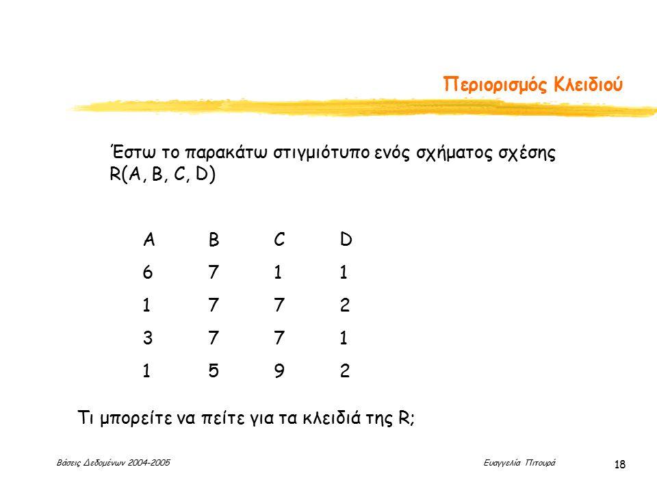 Βάσεις Δεδομένων 2004-2005 Ευαγγελία Πιτουρά 18 Περιορισμός Κλειδιού Έστω το παρακάτω στιγμιότυπο ενός σχήματος σχέσης R(A, B, C, D) ΑΒCD 6711 1772 3771 1592 Τι μπορείτε να πείτε για τα κλειδιά της R;