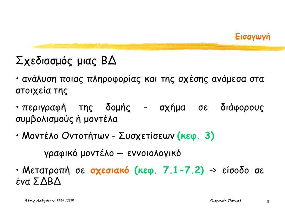 Βάσεις Δεδομένων 2004-2005 Ευαγγελία Πιτουρά 3 Εισαγωγή Σχεδιασμός μιας ΒΔ ανάλυση ποιας πληροφορίας και της σχέσης ανάμεσα στα στοιχεία της περιγραφή της δομής - σχήμα σε διάφορους συμβολισμούς ή μοντέλα Μοντέλο Οντοτήτων - Συσχετίσεων (κεφ.