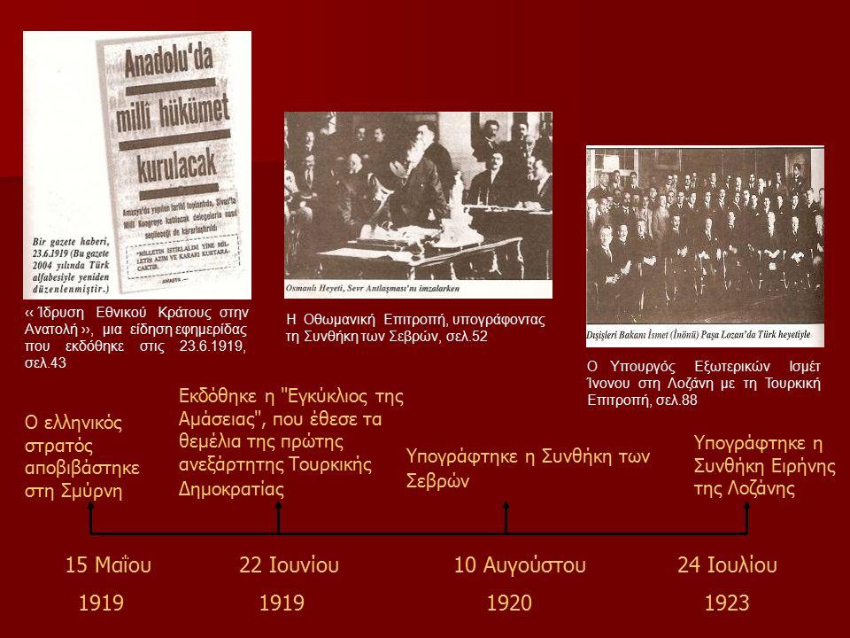 Ο ελληνικός στρατός αποβιβάστηκε στη Σμύρνη Εκδόθηκε η Εγκύκλιος της Αμάσειας , που έθεσε τα θεμέλια της πρώτης ανεξάρτητης Τουρκικής Δημοκρατίας Υπογράφτηκε η Συνθήκη των Σεβρών Υπογράφτηκε η Συνθήκη Ειρήνης της Λοζάνης 15 Μαΐου 1919 22 Ιουνίου 1919 10 Αυγούστου 1920 24 Ιουλίου 1923 ‹‹ Ίδρυση Εθνικού Κράτους στην Ανατολή ››, μια είδηση εφημερίδας που εκδόθηκε στις 23.6.1919, σελ.43 Η Οθωμανική Επιτροπή, υπογράφοντας τη Συνθήκη των Σεβρών, σελ.52 Ο Υπουργός Εξωτερικών Ισμέτ Ίνονου στη Λοζάνη με τη Τουρκική Επιτροπή, σελ.88