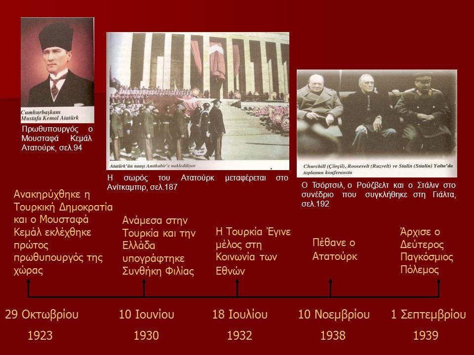 Ανακηρύχθηκε η Τουρκική Δημοκρατία και ο Μουσταφά Κεμάλ εκλέχθηκε πρώτος πρωθυπουργός της χώρας Ανάμεσα στην Τουρκία και την Ελλάδα υπογράφτηκε Συνθήκη Φιλίας Η Τουρκία Έγινε μέλος στη Κοινωνία των Εθνών Πέθανε ο Ατατούρκ Άρχισε ο Δεύτερος Παγκόσμιος Πόλεμος 29 Οκτωβρίου 1923 10 Ιουνίου 1930 18 Ιουλίου 1932 10 Νοεμβρίου 1938 1 Σεπτεμβρίου 1939 Πρωθυπουργός ο Μουσταφά Κεμάλ Ατατούρκ, σελ.94 Η σωρός του Ατατούρκ μεταφέρεται στο Ανίτκαμπιρ, σελ.187 Ο Τσόρτσιλ, ο Ρούζβελτ και ο Στάλιν στο συνέδριο που συγκλήθηκε στη Γιάλτα, σελ.192
