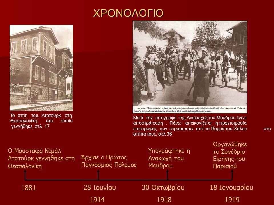 ΧΡΟΝΟΛΟΓΙΟ Άρχισε ο Πρώτος Παγκόσμιος Πόλεμος Ο Μουσταφά Κεμάλ Ατατούρκ γεννήθηκε στη Θεσσαλονίκη Υπογράφτηκε η Ανακωχή του Μούδρου Οργανώθηκε το Συνέδριο Ειρήνης του Παρισιού 1881 28 Ιουνίου 1914 30 Οκτωβρίου 1918 18 Ιανουαρίου 1919 Το σπίτι του Ατατούρκ στη Θεσσαλονίκη στο οποίο γεννήθηκε, σελ.
