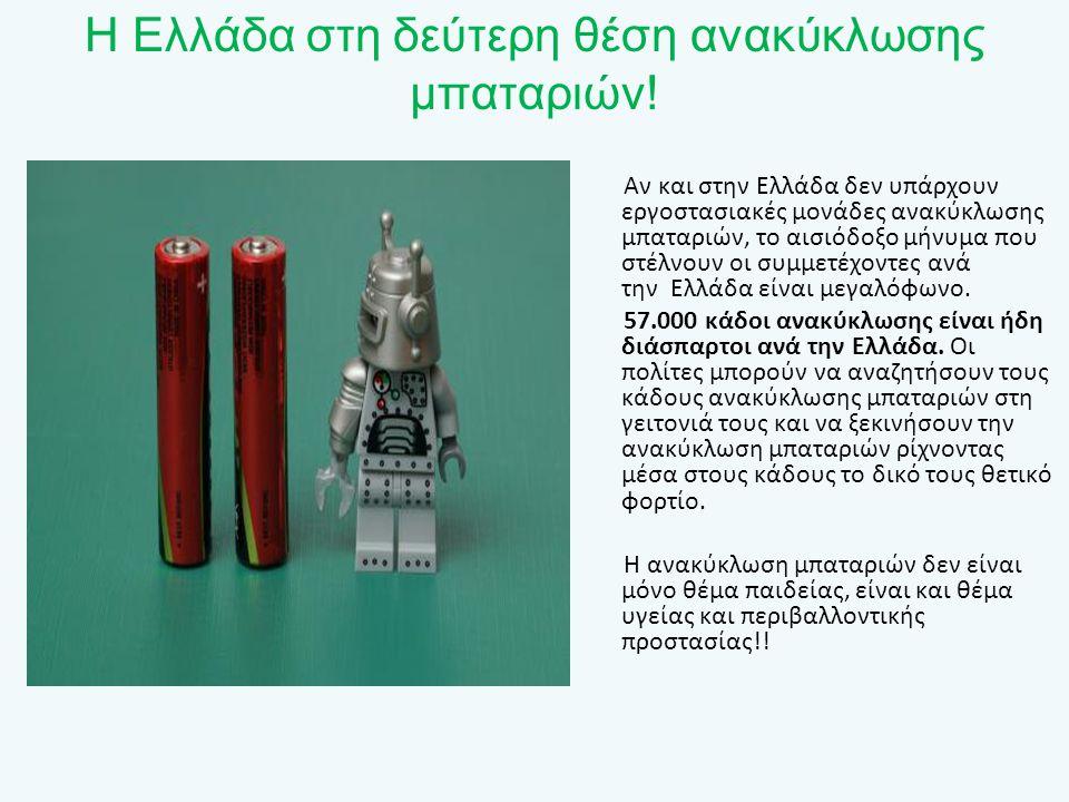 Η Ελλάδα στη δεύτερη θέση ανακύκλωσης μπαταριών! Αν και στην Ελλάδα δεν υπάρχουν εργοστασιακές μονάδες ανακύκλωσης μπαταριών, το αισιόδοξο μήνυμα που