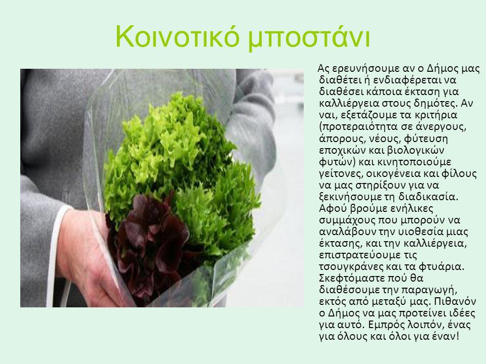 Κοινοτικό μποστάνι Ας ερευνήσουμε αν ο Δήμος μας διαθέτει ή ενδιαφέρεται να διαθέσει κάποια έκταση για καλλιέργεια στους δημότες.