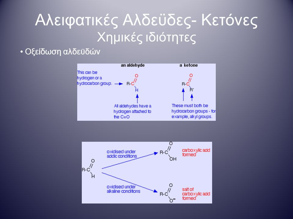 Αλειφατικές Αλδεϋδες- Κετόνες Χημικές ιδιότητες Οξείδωση αλδεϋδών