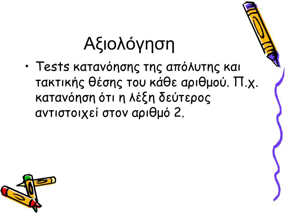 Αξιολόγηση Tests κατανόησης της απόλυτης και τακτικής θέσης του κάθε αριθμού.