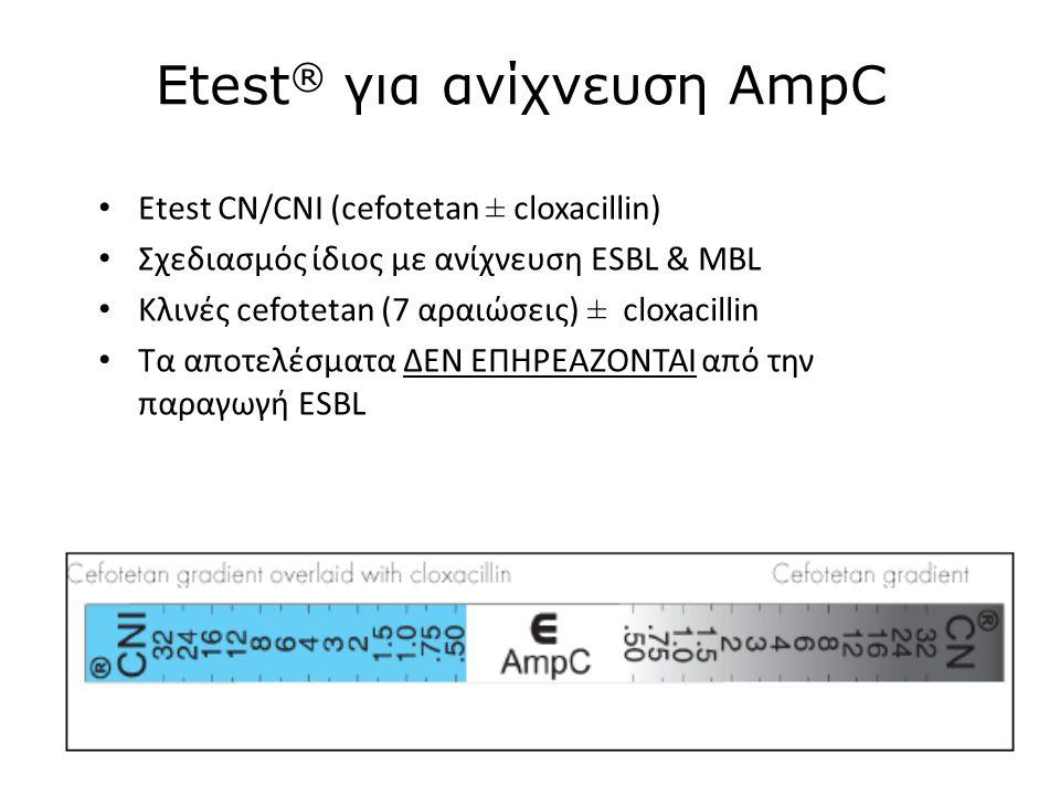 Etest ® για ανίχνευση AmpC Etest CN/CNI (cefotetan ± cloxacillin) Σχεδιασμός ίδιος με ανίχνευση ESBL & MBL Κλινές cefotetan (7 αραιώσεις) ± cloxacillin Τα αποτελέσματα ΔΕΝ ΕΠΗΡΕΑΖΟΝΤΑΙ από την παραγωγή ESBL