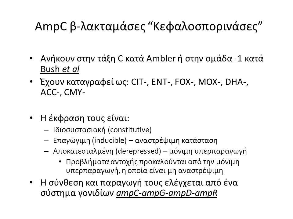 AmpC β-λακταμάσες Κεφαλοσπορινάσες Ανήκουν στην τάξη C κατά Ambler ή στην ομάδα -1 κατά Bush et al Έχουν καταγραφεί ως: CIT-, ENT-, FOX-, MOX-, DHA-, ACC-, CMY- Η έκφραση τους είναι: – Iδιοσυστασιακή (constitutive) – Επαγώγιμη (inducible) – αναστρέψιμη κατάσταση – Aποκατεσταλμένη (derepressed) – μόνιμη υπερπαραγωγή Προβλήματα αντοχής προκαλούνται από την μόνιμη υπερπαραγωγή, η οποία είναι μη αναστρέψιμη Η σύνθεση και παραγωγή τους ελέγχεται από ένα σύστημα γονιδίων ampC-ampG-ampD-ampR