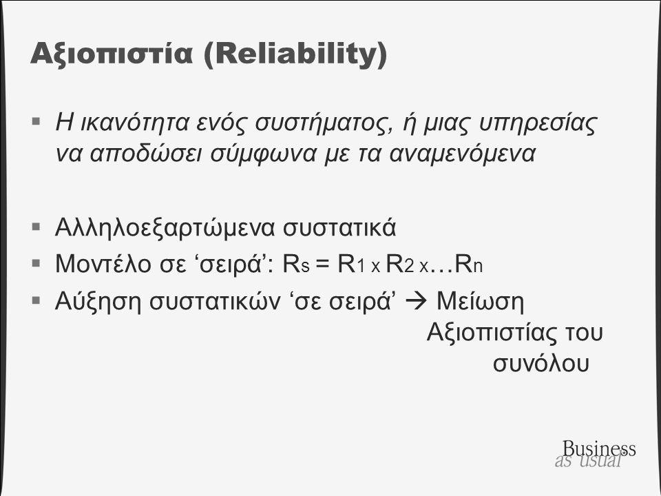 Αξιοπιστία (Reliability)  Η ικανότητα ενός συστήματος, ή μιας υπηρεσίας να αποδώσει σύμφωνα με τα αναμενόμενα  Αλληλοεξαρτώμενα συστατικά  Μοντέλο σε 'σειρά': R s = R 1 x R 2 x …R n  Αύξηση συστατικών 'σε σειρά'  Μείωση Αξιοπιστίας του συνόλου