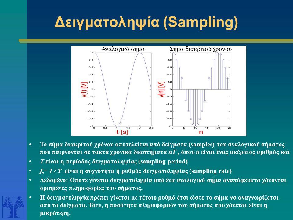 Δειγματοληψία (Sampling) Αναλογικό σήμαΣήμα διακριτού χρόνου Το σήμα διακριτού χρόνου αποτελείται από δείγματα (samples) του αναλογικού σήματος που πα