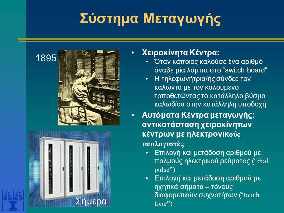 """Σύστημα Μεταγωγής Χειροκίνητα Κέντρα: Όταν κάποιος καλούσε ένα αριθμό άναβε μία λάμπα στο """"switch board"""" Η τηλεφωνήτρια/ής σύνδεε τον καλώντα με τον κ"""