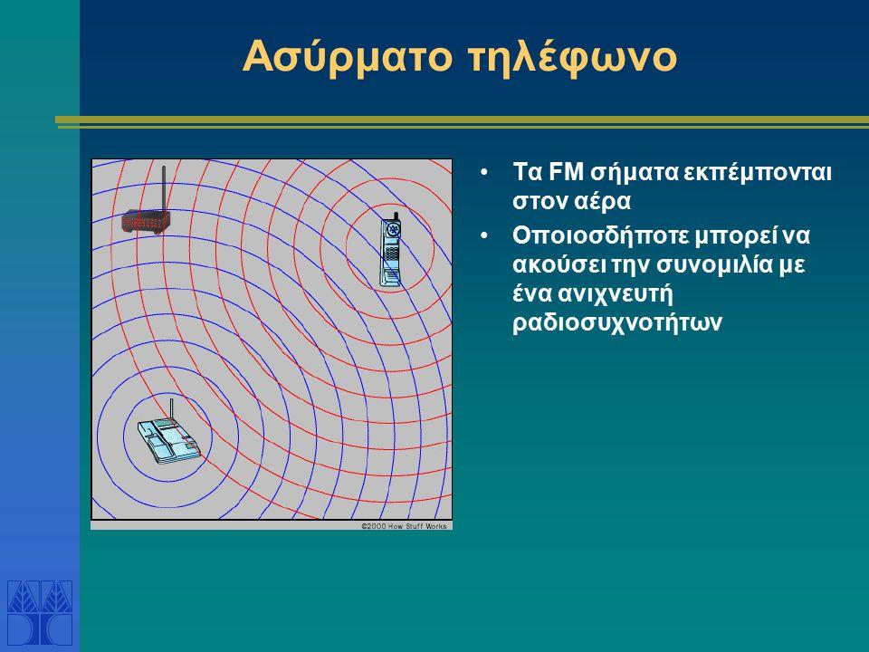 Ασύρματο τηλέφωνο Τα FM σήματα εκπέμπονται στον αέρα Οποιοσδήποτε μπορεί να ακούσει την συνομιλία με ένα ανιχνευτή ραδιοσυχνοτήτων