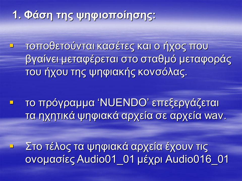 1. Φάση της ψηφιοποίησης: 1. Φάση της ψηφιοποίησης:  τοποθετούνται κασέτες και ο ήχος που βγαίνει μεταφέρεται στο σταθμό μεταφοράς του ήχου της ψηφια