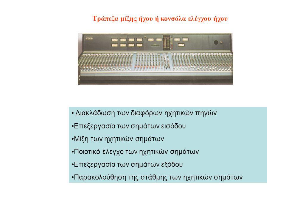 Τράπεζα μίξης ήχου ή κονσόλα ελέγχου ήχου Διακλάδωση των διαφόρων ηχητικών πηγών Επεξεργασία των σημάτων εισόδου Μίξη των ηχητικών σημάτων Ποιοτικό έλ