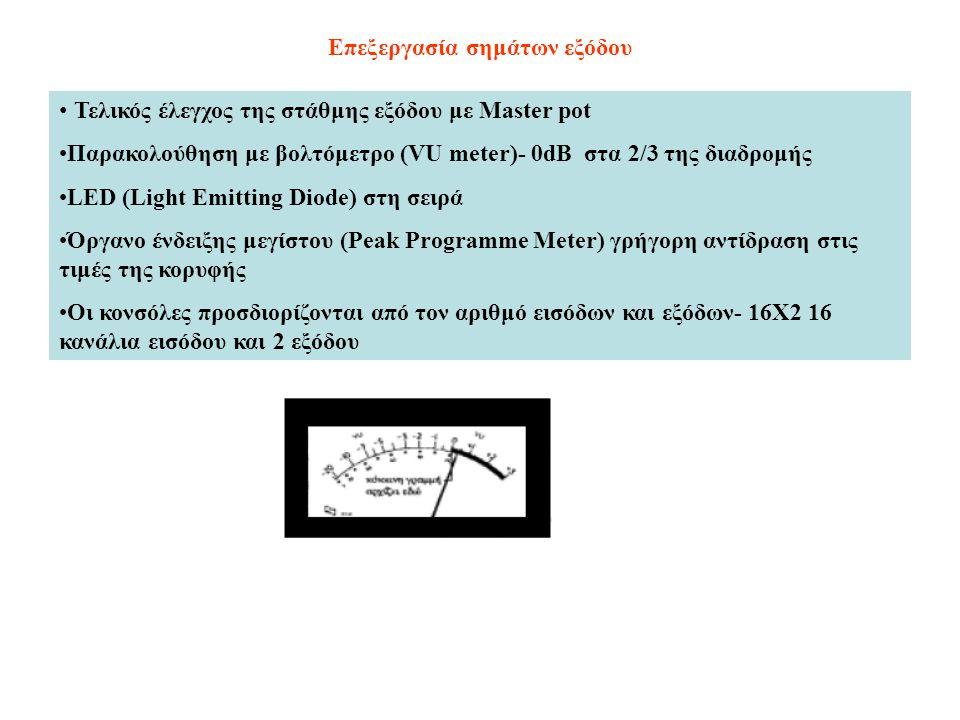 Επεξεργασία σημάτων εξόδου Τελικός έλεγχος της στάθμης εξόδου με Master pot Παρακολούθηση με βολτόμετρο (VU meter)- 0dB στα 2/3 της διαδρομής LED (Lig
