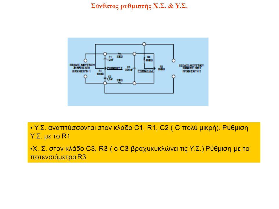 Σύνθετος ρυθμιστής Χ.Σ. & Υ.Σ. Υ.Σ. αναπτύσσονται στον κλάδο C1, R1, C2 ( C πολύ μικρή). Ρύθμιση Υ.Σ. με το R1 Χ. Σ. στον κλάδο C3, R3 ( o C3 βραχυκυκ