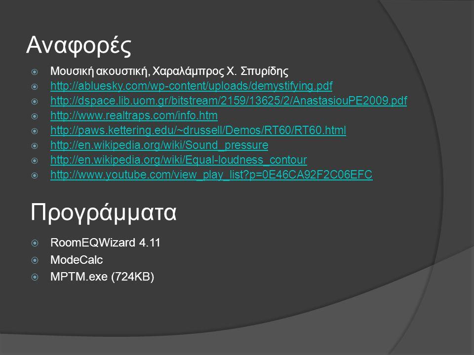 Αναφορές  Μουσική ακουστική, Χαραλάμπρος Χ. Σπυρίδης  http://abluesky.com/wp-content/uploads/demystifying.pdf http://abluesky.com/wp-content/uploads