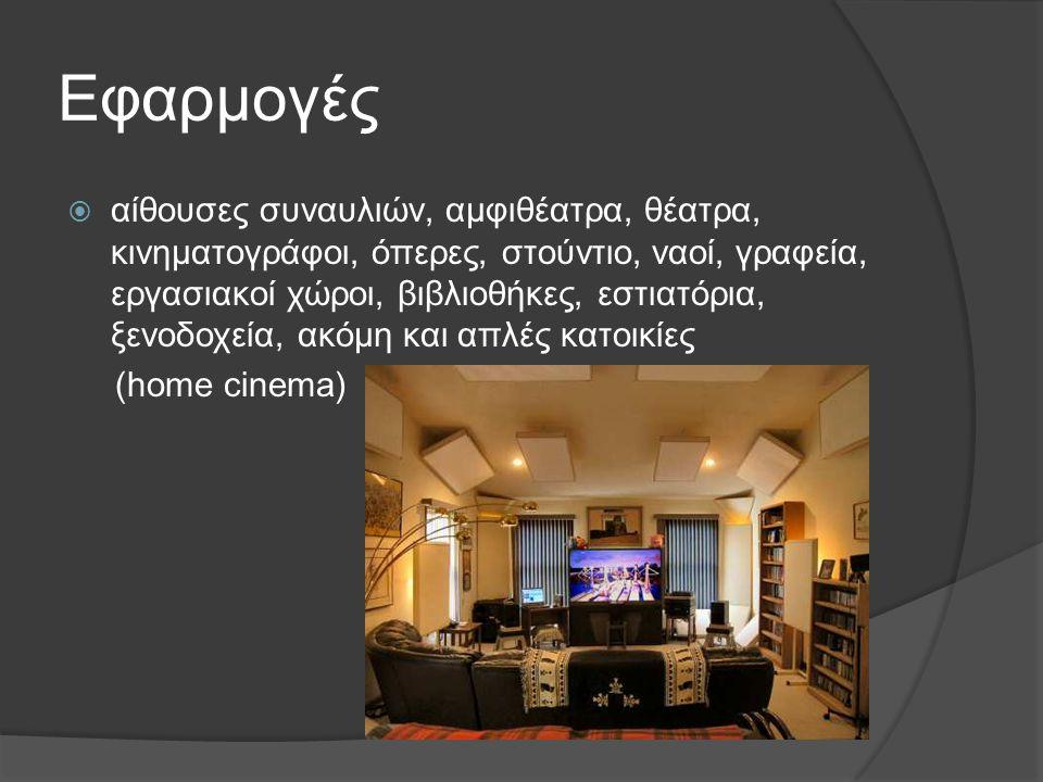 Εφαρμογές  αίθουσες συναυλιών, αμφιθέατρα, θέατρα, κινηματογράφοι, όπερες, στούντιο, ναοί, γραφεία, εργασιακοί χώροι, βιβλιοθήκες, εστιατόρια, ξενοδο