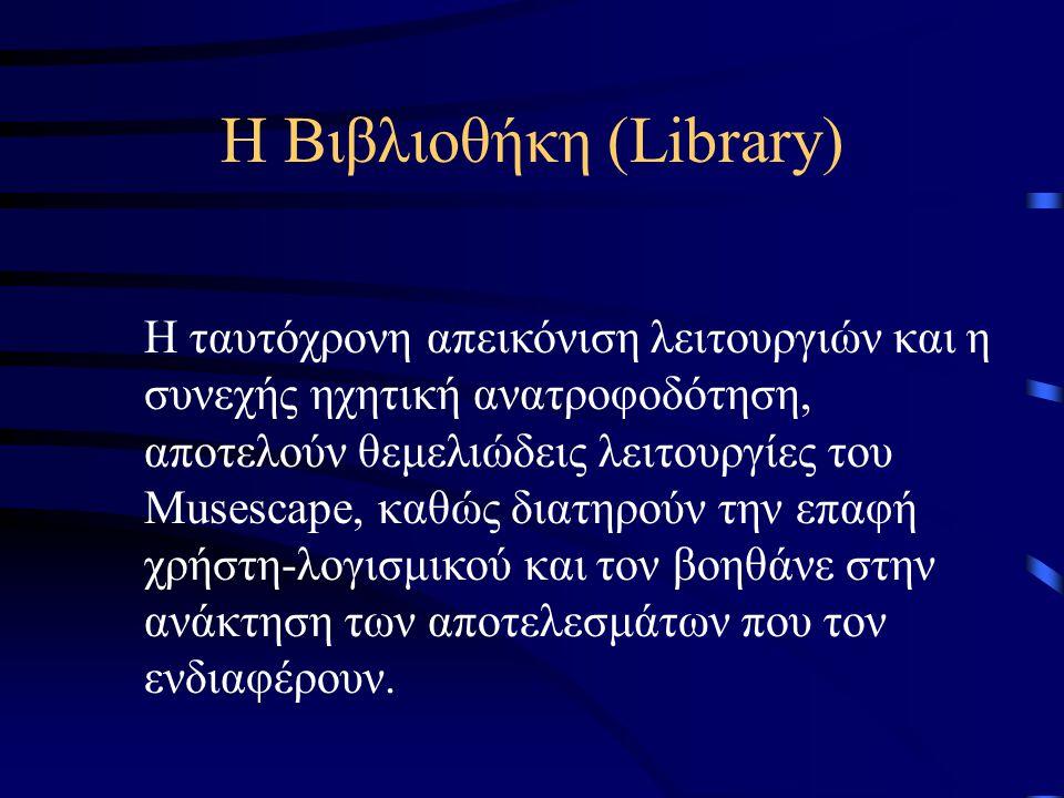 Η Βιβλιοθήκη (Library) Το φιλικό και λειτουργικό περιβάλλον χρήστη Η ταυτόχρονη απεικόνιση λειτουργιών (Unified representation) και Η συνεχής ηχητική ανατροφοδότηση (Continuous audio feedback) Η Βιβλιοθήκη βασίζεται σε τρεις χαρακτηριστικές λειτουργίες: