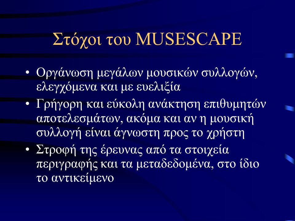 Στόχοι του MUSESCAPE Οργάνωση μεγάλων μουσικών συλλογών, ελεγχόμενα και με ευελιξία Γρήγορη και εύκολη ανάκτηση επιθυμητών αποτελεσμάτων, ακόμα και αν η μουσική συλλογή είναι άγνωστη προς το χρήστη Στροφή της έρευνας από τα στοιχεία περιγραφής και τα μεταδεδομένα, στο ίδιο το αντικείμενο