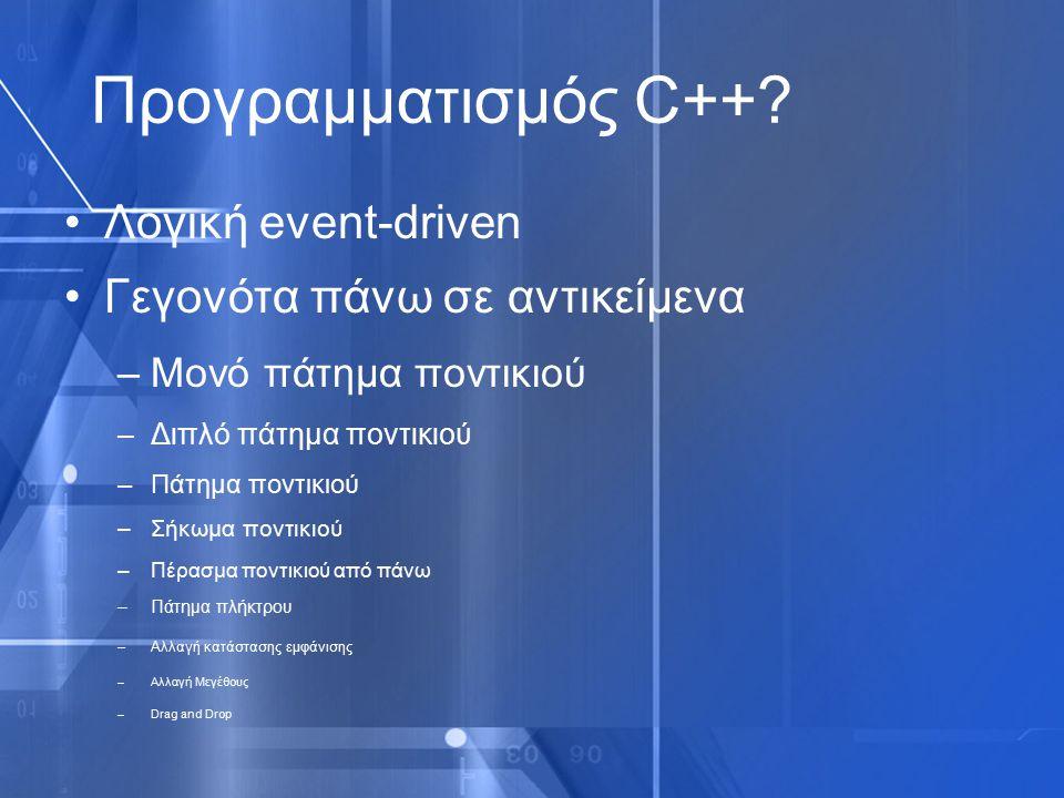 Προγραμματισμός C++? Λογική event-driven Γεγονότα πάνω σε αντικείμενα –Μονό πάτημα ποντικιού –Διπλό πάτημα ποντικιού –Πάτημα ποντικιού –Σήκωμα ποντικι