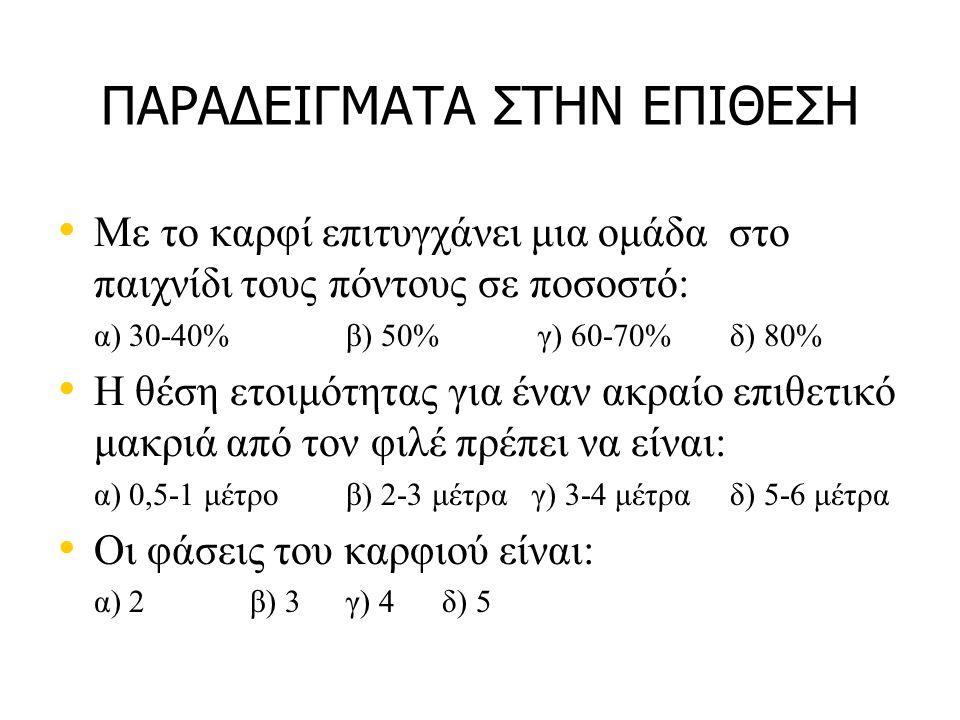 ΠΑΡΑΔΕΙΓΜΑΤΑ ΣΤΗΝ ΕΠΙΘΕΣΗ Με το καρφί επιτυγχάνει μια ομάδα στο παιχνίδι τους πόντους σε ποσοστό: α) 30-40%β) 50%γ) 60-70% δ) 80% Η θέση ετοιμότητας για έναν ακραίο επιθετικό μακριά από τον φιλέ πρέπει να είναι: α) 0,5-1 μέτρο β) 2-3 μέτρα γ) 3-4 μέτραδ) 5-6 μέτρα Οι φάσεις του καρφιού είναι: α) 2 β) 3 γ) 4 δ) 5