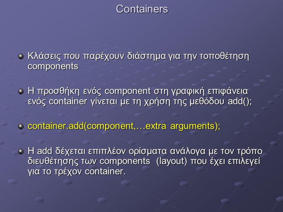 Containers Κλάσεις που παρέχουν διάστημα για την τοποθέτηση components Η προσθήκη ενός component στη γραφική επιφάνεια ενός container γίνεται με τη χρήση της μεθόδου add(); container.add(component,…extra arguments); Η add δέχεται επιπλέον ορίσματα ανάλογα με τον τρόπο διευθέτησης των components (layout) που έχει επιλεγεί για το τρέχον container.