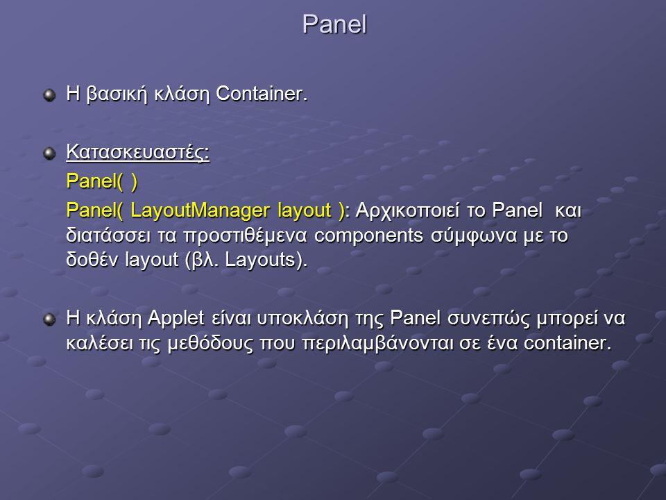 Panel Η βασική κλάση Container.