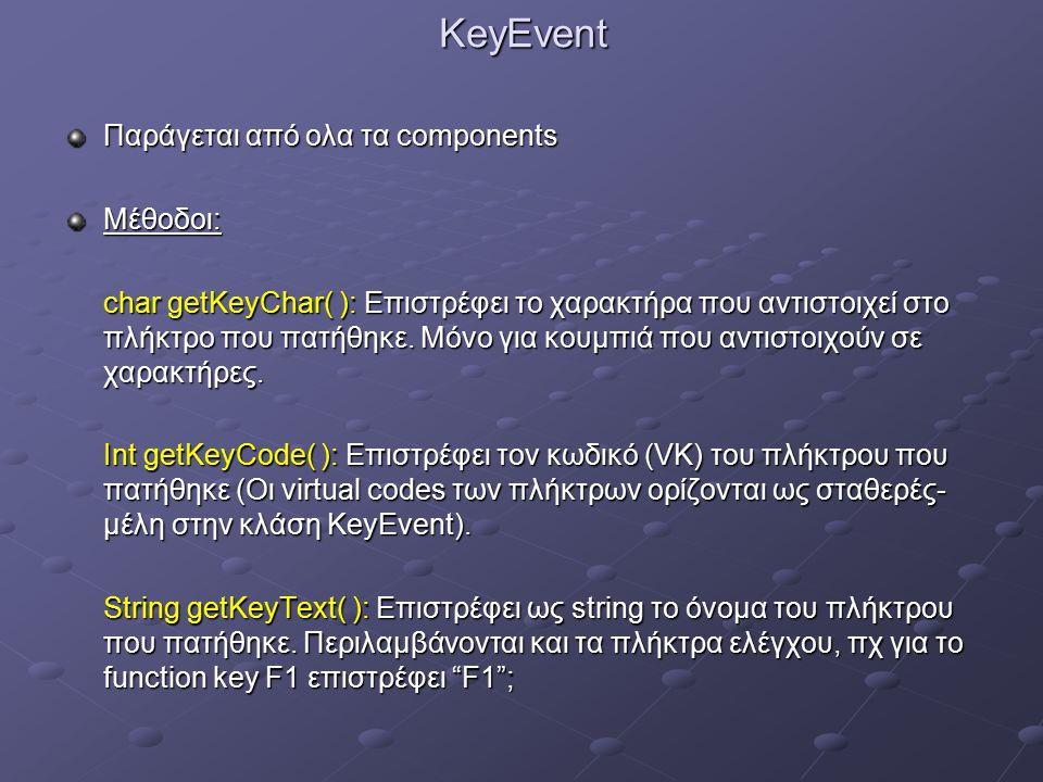 KeyEvent Παράγεται από ολα τα components Μέθοδοι: char getKeyChar( ): Επιστρέφει το χαρακτήρα που αντιστοιχεί στο πλήκτρο που πατήθηκε.