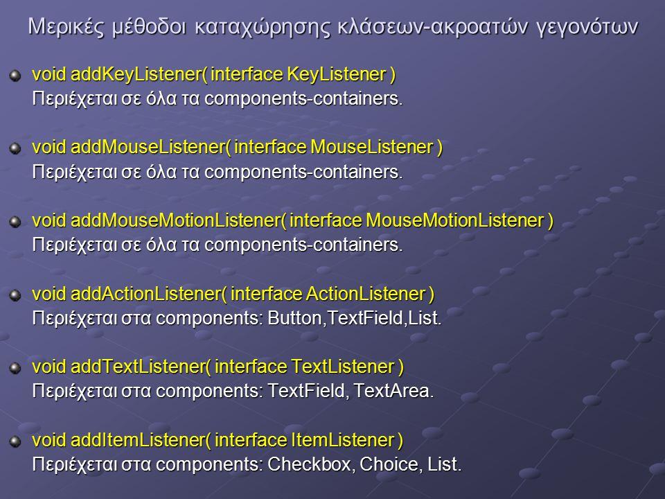 Μερικές μέθοδοι καταχώρησης κλάσεων-ακροατών γεγονότων void addKeyListener( interface KeyListener ) Περιέχεται σε όλα τα components-containers.