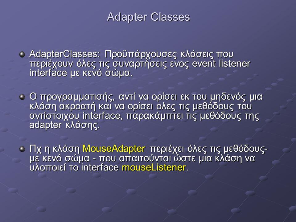 Adapter Classes AdapterClasses: Προϋπάρχουσες κλάσεις που περιέχουν όλες τις συναρτήσεις ενος event listener interface με κενό σώμα.