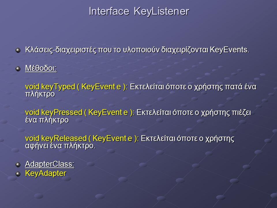 Interface KeyListener Κλάσεις-διαχειριστές που το υλοποιούν διαχειρίζονται KeyEvents.