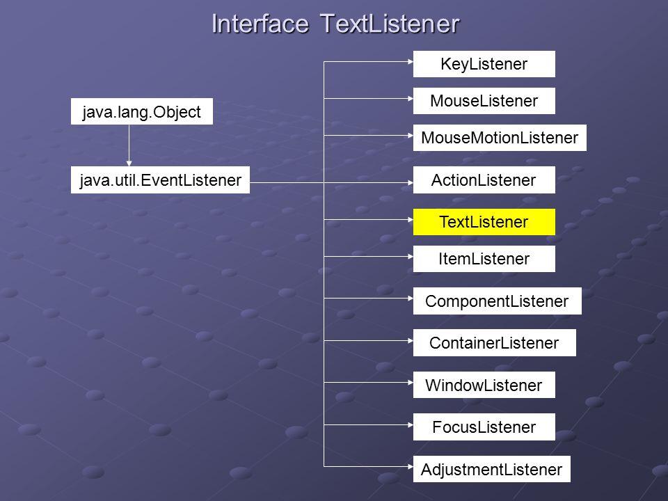 Interface TextListener ActionListener AdjustmentListener ComponentListener ContainerListener FocusListener ItemListener KeyListener MouseListener MouseMotionListener TextListener WindowListener java.lang.Object java.util.EventListener