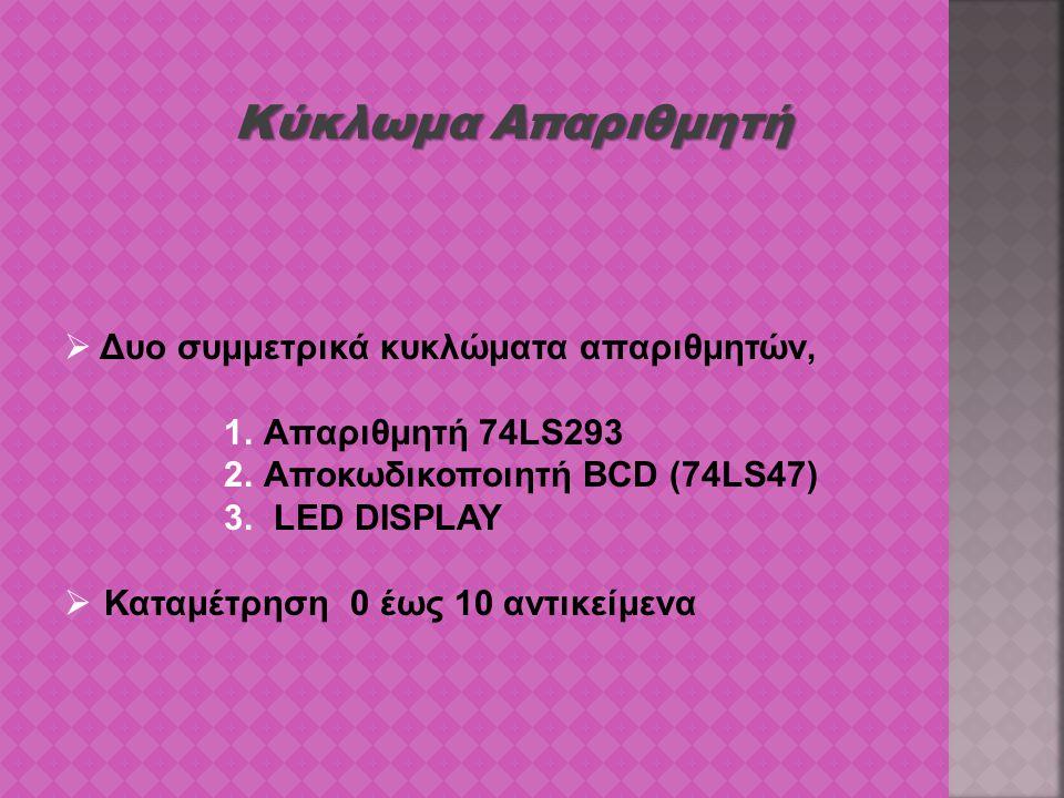 Κύκλωμα Απαριθμητή  Δυο συμμετρικά κυκλώματα απαριθμητών, 1.Απαριθμητή 74LS293 2.Αποκωδικοποιητή BCD (74LS47) 3. LED DISPLAY  Καταμέτρηση 0 έως 10 α