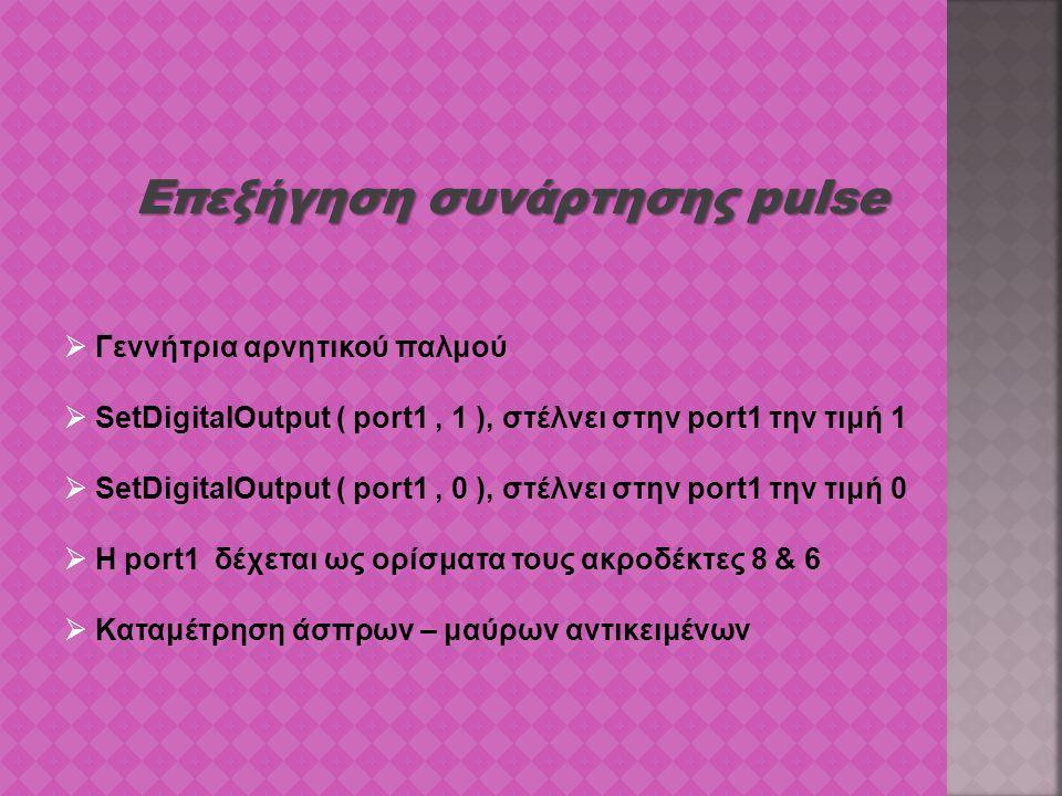 Επεξήγηση συνάρτησης pulse  Γεννήτρια αρνητικού παλμού  SetDigitalOutput ( port1, 1 ), στέλνει στην port1 την τιμή 1  SetDigitalOutput ( port1, 0 )
