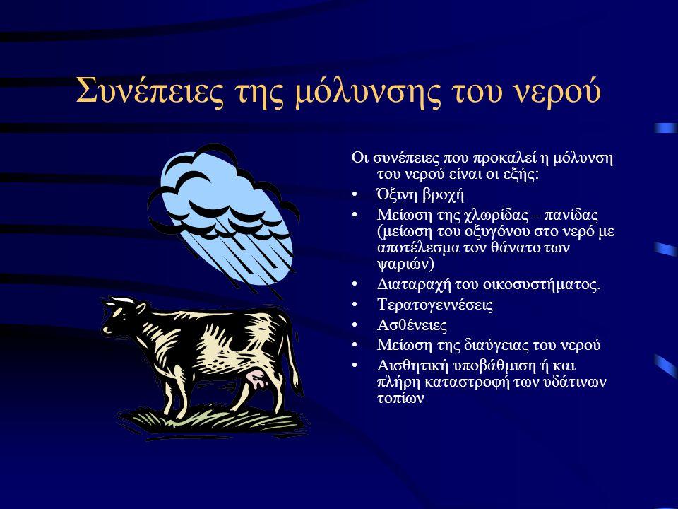 Συνέπειες της μόλυνσης του νερού Οι συνέπειες που προκαλεί η μόλυνση του νερού είναι οι εξής: Όξινη βροχή Μείωση της χλωρίδας – πανίδας (μείωση του οξυγόνου στο νερό με αποτέλεσμα τον θάνατο των ψαριών) Διαταραχή του οικοσυστήματος.