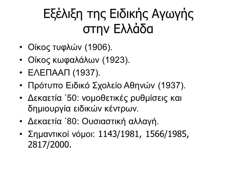 Εξέλιξη της Ειδικής Αγωγής στην Ελλάδα Οίκος τυφλών (1906). Οίκος κωφαλάλων (1923). ΕΛΕΠΑΑΠ (1937). Πρότυπο Ειδικό Σχολείο Αθηνών (1937). Δεκαετία ΄50
