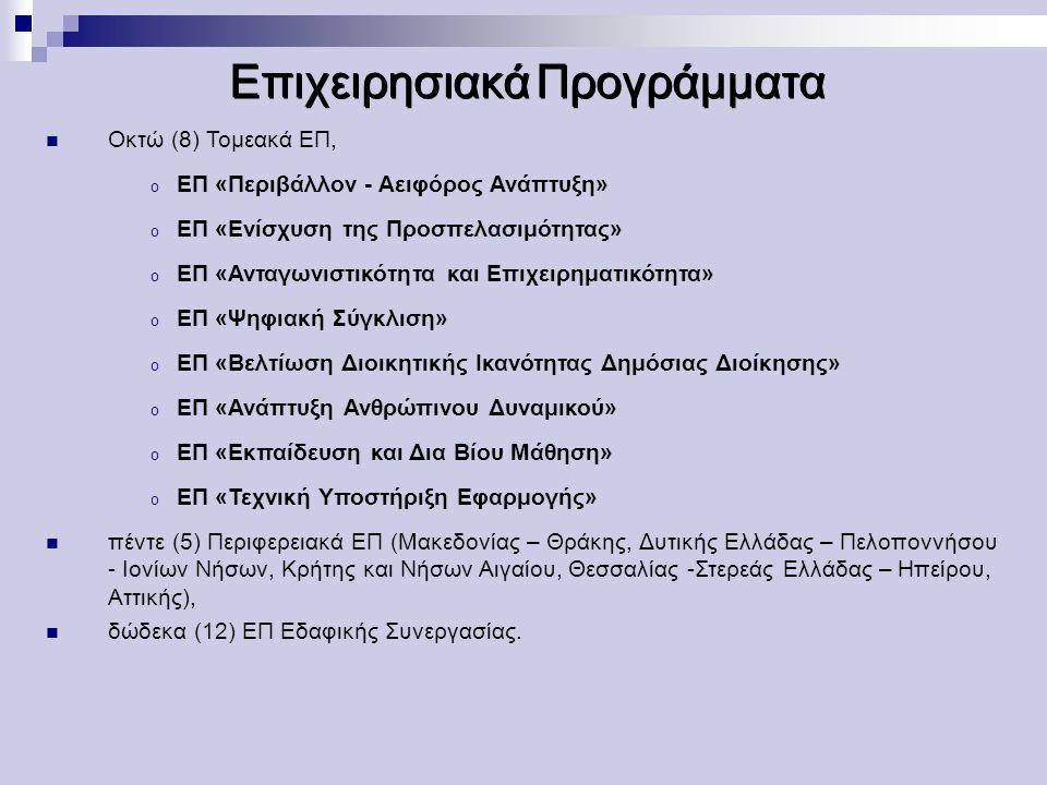 Επιχειρησιακά Προγράμματα Οκτώ (8) Τομεακά ΕΠ, o ΕΠ «Περιβάλλον - Αειφόρος Ανάπτυξη» o ΕΠ «Ενίσχυση της Προσπελασιμότητας» o ΕΠ «Ανταγωνιστικότητα και Επιχειρηματικότητα» o ΕΠ «Ψηφιακή Σύγκλιση» o ΕΠ «Βελτίωση Διοικητικής Ικανότητας Δημόσιας Διοίκησης» o ΕΠ «Ανάπτυξη Ανθρώπινου Δυναμικού» o ΕΠ «Εκπαίδευση και Δια Βίου Μάθηση» o ΕΠ «Τεχνική Υποστήριξη Eφαρμογής» πέντε (5) Περιφερειακά ΕΠ (Μακεδονίας – Θράκης, Δυτικής Ελλάδας – Πελοποννήσου - Ιονίων Νήσων, Κρήτης και Νήσων Αιγαίου, Θεσσαλίας -Στερεάς Ελλάδας – Ηπείρου, Αττικής), δώδεκα (12) ΕΠ Εδαφικής Συνεργασίας.
