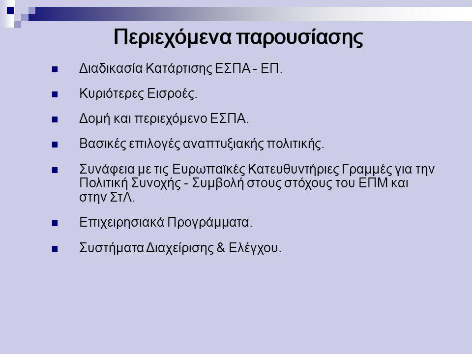 Περιεχόμενα παρουσίασης Διαδικασία Κατάρτισης ΕΣΠΑ - ΕΠ.