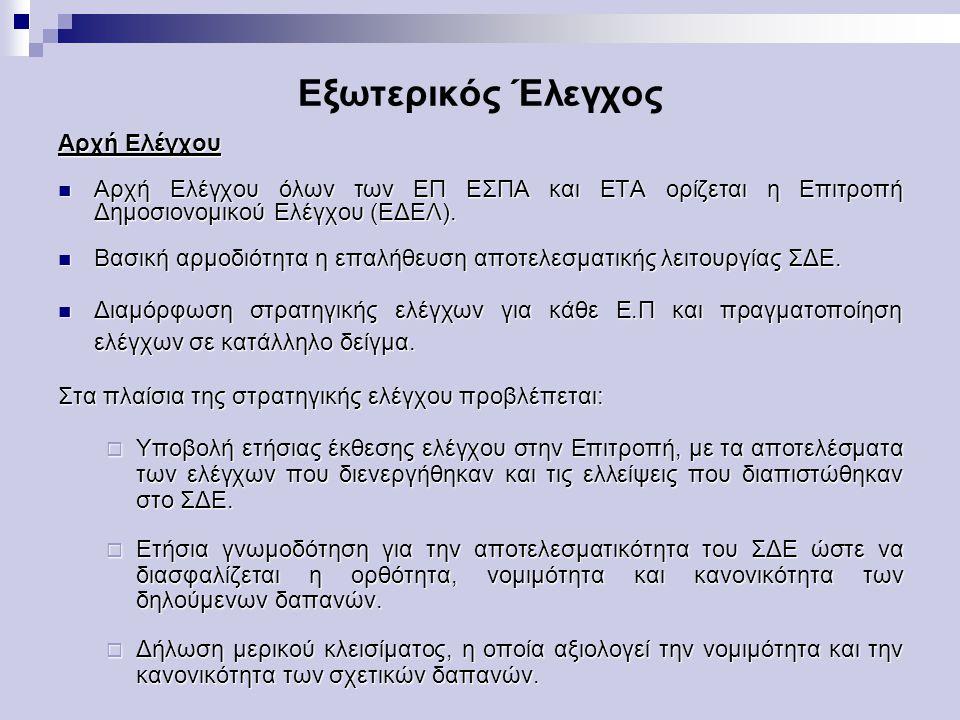Εξωτερικός Έλεγχος Αρχή Ελέγχου Αρχή Ελέγχου όλων των ΕΠ ΕΣΠΑ και ΕΤΑ ορίζεται η Επιτροπή Δημοσιονομικού Ελέγχου (ΕΔΕΛ).