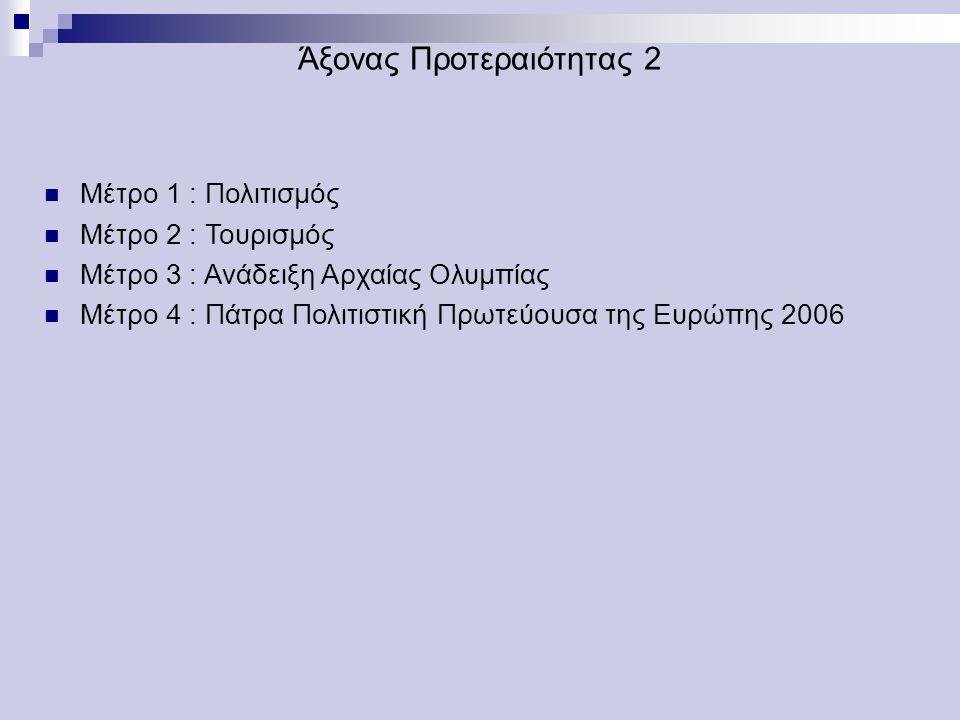 Άξονας Προτεραιότητας 2 Μέτρο 1 : Πολιτισμός Μέτρο 2 : Τουρισμός Μέτρο 3 : Ανάδειξη Αρχαίας Ολυμπίας Μέτρο 4 : Πάτρα Πολιτιστική Πρωτεύουσα της Ευρώπης 2006