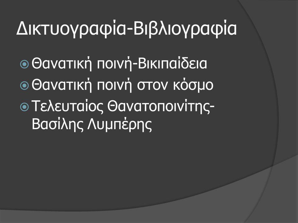 Δικτυογραφία-Βιβλιογραφία  Θανατική ποινή-Βικιπαίδεια  Θανατική ποινή στον κόσμο  Τελευταίος Θανατοποινίτης- Βασίλης Λυμπέρης