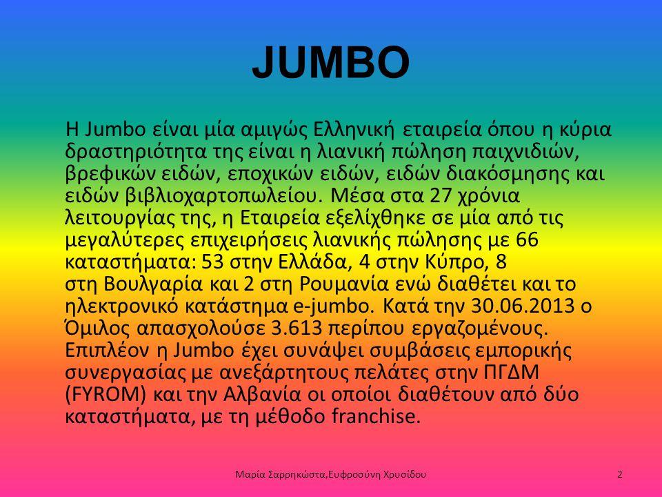 JUMBO Η Jumbo είναι μία αμιγώς Ελληνική εταιρεία όπου η κύρια δραστηριότητα της είναι η λιανική πώληση παιχνιδιών, βρεφικών ειδών, εποχικών ειδών, ειδ