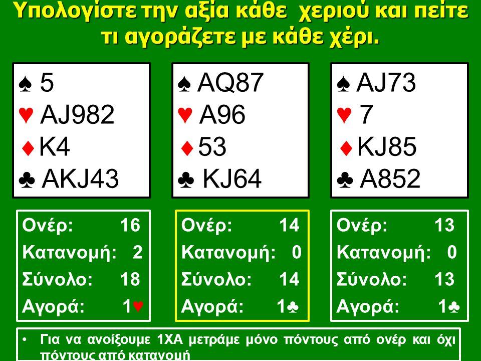 ♠ 5 ♥ ΑJ982  K4 ♣ AΚJ43 ♠ AQ87 ♥ A96  53 ♣ KJ64 ♠ AJ73 ♥ 7  KJ85 ♣ A852 Υπολογίστε την αξία κάθε χεριού και πείτε τι αγοράζετε με κάθε χέρι.