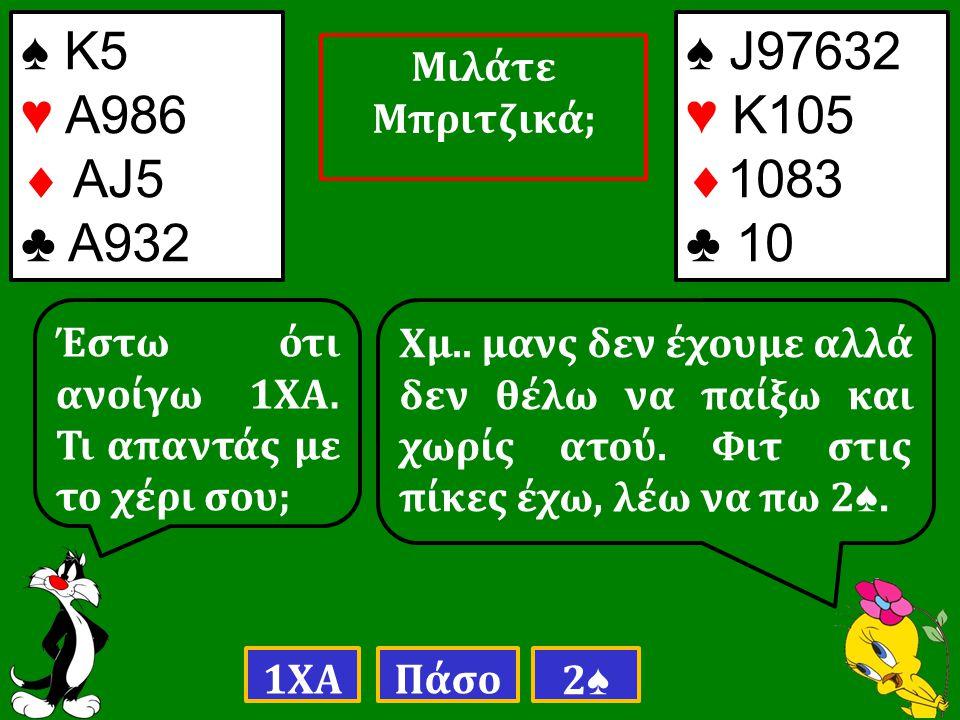 ♠ Κ5 ♥ Α986  ΑJ5 ♣ Α932 Έστω ότι ανοίγω 1ΧΑ. Τι απαντάς με το χέρι σου; 1ΧΑΠάσο 2♠2♠ Χμ..