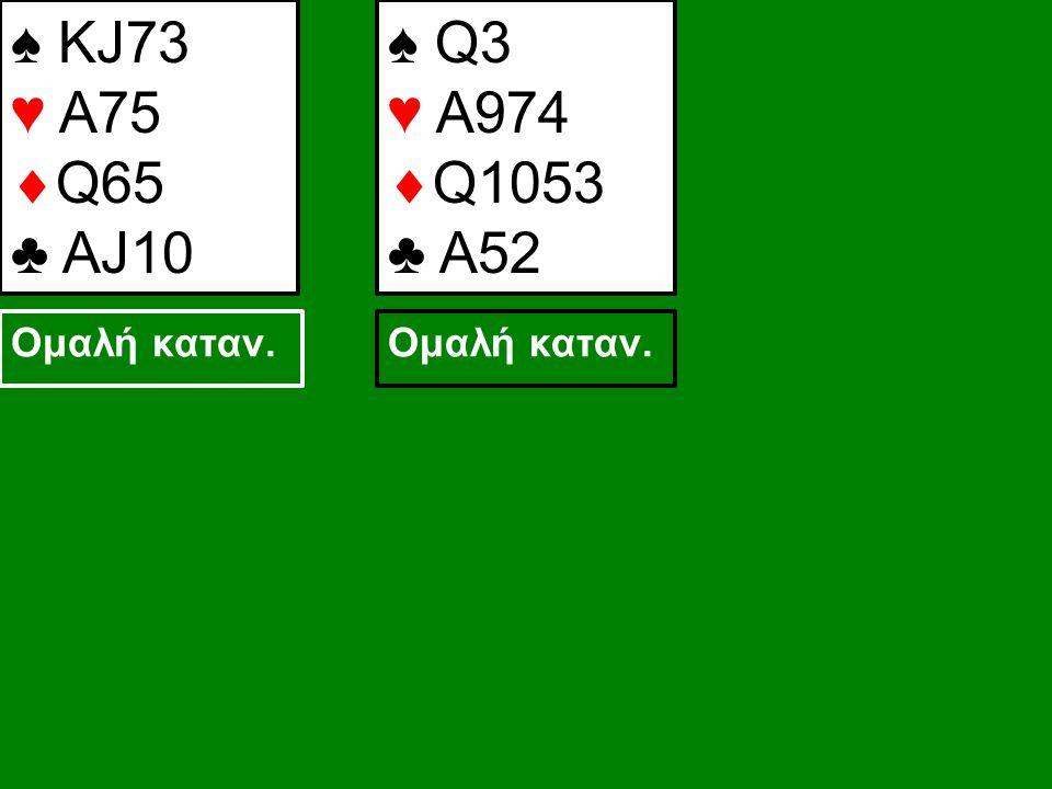 ♠ KJ73 ♥ A75  Q65 ♣ AJ10 ♠ Q3 ♥ A974  Q1053 ♣ A52 Ομαλή καταν.